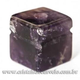 Pingente Pedra Cubo Ametista Difusor Aromaterapia Ranhurado