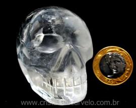 Crânio Quartzo Cristal Pedra Lapidado Artesanal Cod CC6699