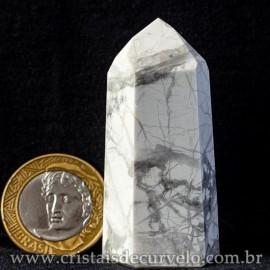Ponta Howlita Natural Lapidaçao Gerador Sextavado Cod 113649