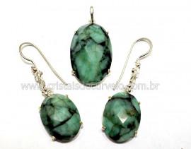 Conjunto Brinco e Pingente Pedra Esmeralda Prata 950 Reff CP9939