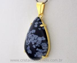 Pingente Extra Gota Pedra Obsidiana Flocos de Neve Montagem Garra Dourado
