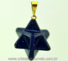 Merkaba Pingente Pedra Estrela Azul Presilha Dourada Brinde