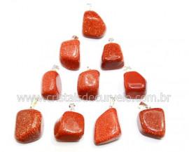 10 Pingente Pedra do Sol Pedrinha Rolado Pino Argola Flash Prateado ATACADO