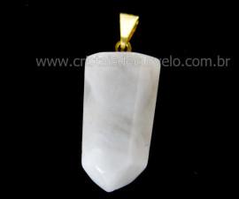 Pingente Pontinha Pedra Quartzo Leitoso Presilha e Pino Dourado