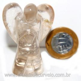 Anjo de Quartzo Fumê Esculpido em Pedra Natural Cod 121253