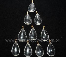 10 Pingente GOTA Pedra Cristal Natural Montagem Flash Dourado ATACADO