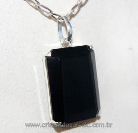 Pingente Facetado Obsidiana Negra Prata 950 na Garra REFF PF1249