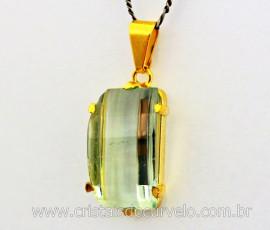 Pingente Obsidiana Verde Retangulo Facetado Montagem Garra Dourado REFF 37.6