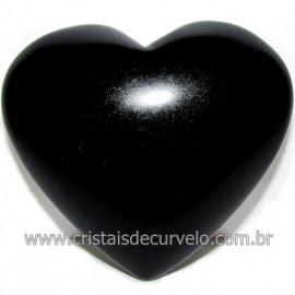 Coraçao de Obsidiana Negra Mineral Lava Vulcanica Cod 116324