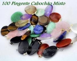 100 Pingente Cabochão Pedra MISTO Montagem Pino e argola  Banho Prateado ATACADO