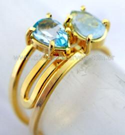 Anel 2 Pedras Topazio Azul Gemas Gota Facetado Aro Dourado Ajustavel REF 18.7