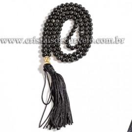 Terço Japamala Pedra Obsidiana Negra Natural 108 Contas 6mm