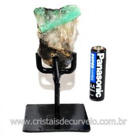 Esmeralda Canudo Pedra Natural com Suporte De Ferro Cod 119341