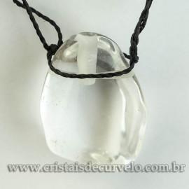 Pingente Pedra Rolada Cristal Difusor Aromaterapia Ranhurado