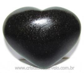 Coraçao Quartzo Preto Quartzito Negro Natural Cod 115344