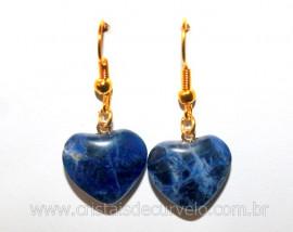 Brinco Coração Pedra Sodalita Azul Montagem Anzol Reff BC9806