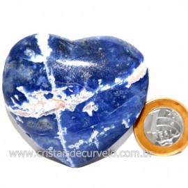 Coração Sodalita Pedra Azul Natural de Garimpo Cod 124096