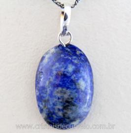 Pingente Cabochão Pedra Lapis Lazuli Castoação Prata 950 Pino e Perinha
