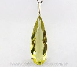 Pingente Gota Facetado GREEN GOLD Extra Montagem Prata 950 Garra REF 24.8