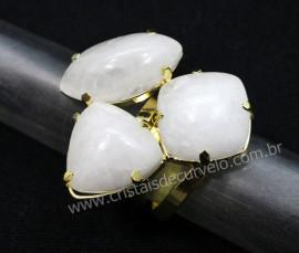 Anel 3 Pedras Quartzo Leitoso Cabochao Aro Ajustavel Banho Dourado Ref 34.6