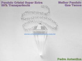 Pendulo CRISTAL SUPER EXTRA TRANSPARENCIA  Pedra Facetado Corrente Brinde