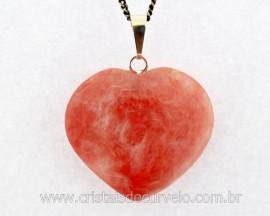 Pingente Coração Pedra QUARTZO GOIABA Castoação Prata 950 Pino e Perinha