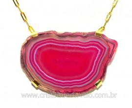 Colar Chapa de Agata Rosa Montagem Horizontal Dourado CA6119