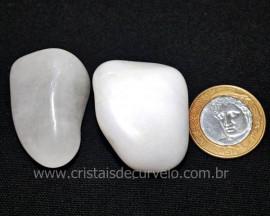 02 Quartzo Leitoso Pedra Rolado Natural de Garimpo Reff PU9314