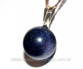 Pingente Bolinha Pedra Estrela Azul Pino Prateado