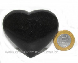 Coração Quartzo Preto Quartzito Negro Pedra Natural Cod CP6152