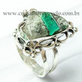 Anel Pedra Esmeralda Na base Natural Prata 950 Ajustavel 116340