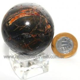 Bola Onix Preto Pedra Natural Lapidado Artesanal Cod 118750