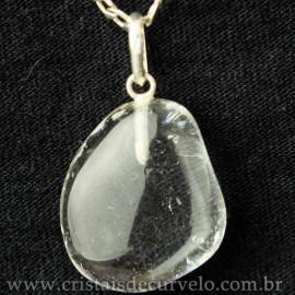 Pingente Pedrinha Cristal Rolada Montagem na Prata 950 113046