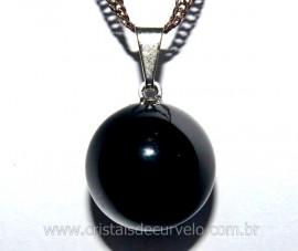 Pingente Bolinha Pedra Obsidiana Negra Pino Prateado Reff PB8904