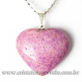 Pingente Coraçao AMAZONITA PINK Pedra Natural Pino Prateado