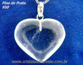 Pingente Coração Pedra Quartzo Cristal Castoação Prata 950 Pino e Perinha