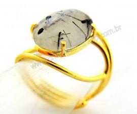 Anel Cristal com Turmalina Cabochão Oval Pequeno Dourado REFF CP5366
