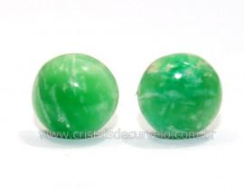 Brinco Topinho Pedra Amazonita Verde Prata 950 Reff BB1499