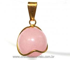 Pingente Bolinha Quartzo Rosa Envolto a Pedra Montagem Dourada