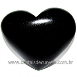 Coraçao de Obsidiana Negra Mineral Lava Vulcanica Cod 116331