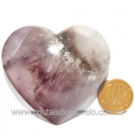 Coração Ametrino Pedra Natural Presente Ideal Cod 119145