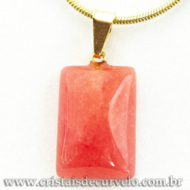 Mini Pingente Retangular Liso Pedra Cherry Pino Dourado