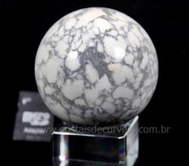 Esfera Howlita Mineral Natural Pedra De Garimpo Lapidado Manualmente Cod 418.5