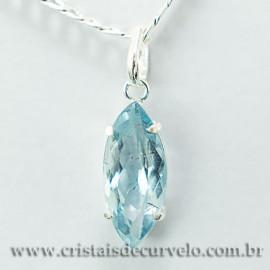 Pingente Navete Facetado Topazio Azul Prata 950 Garra 112475