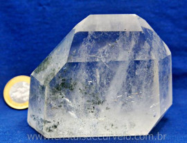 Ponta Lapidado Clorita Lodo Verde Incrustado na Matriz Cristal Especial Cod 547.2