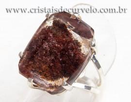 Anel Prata 950 Cristal Lodolita Natural Aro Ajustavel 112360