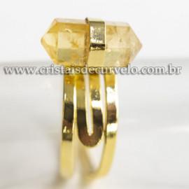 Anel Micro Pontinha Citrino Bi Ponta Aro Ajustavel Dourado