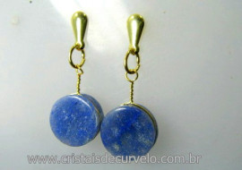 Brinco Disco Pedra Quartzo Azul Pino Tarracha Banho Ouro Flash