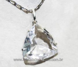 Pingente Trillion Pedra Cristal Prata 950 Cachinha e Garras Reforçado Reff 12.8