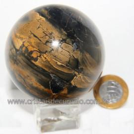 Bola Onix Preto Pedra Natural Lapidado Artesanal Cod 118739